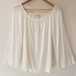 NWT WHBM Cream Convertible Bell Sleeve Shirt (M)